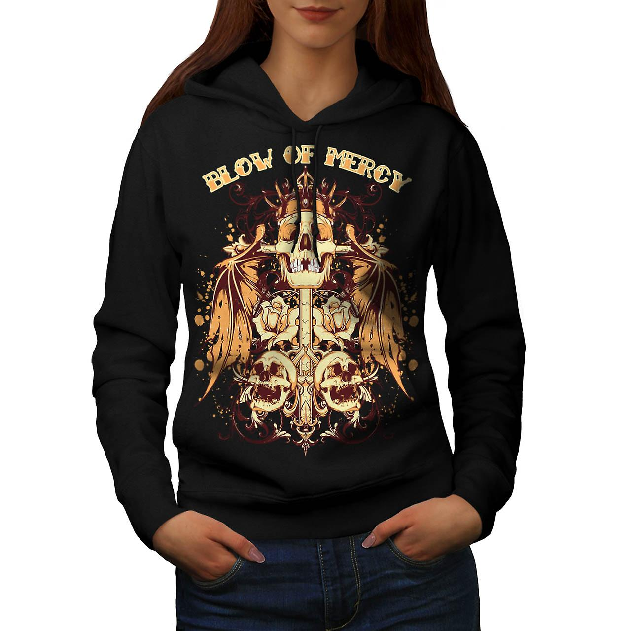Blow Of Mercy Skull Tomb Stone Women Black Hoodie | Wellcoda