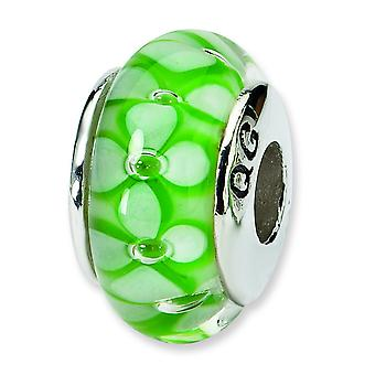 Ste. Silver Reflections Green Floral Murano Glass Bead Charm