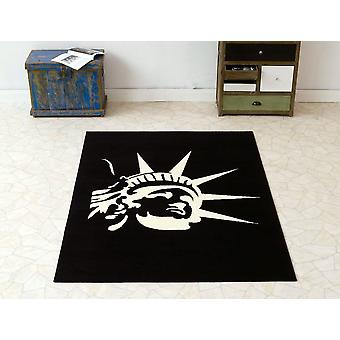 Design velour carpet statue of liberty black cream 140 x 200 cm | 101908