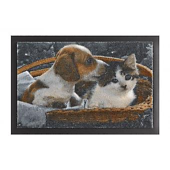 Doormat dirt trapping pad of animals dog and cat Braun Weiß 40 x 60 cm