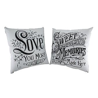 2 Piece Black & White Romance Vintage Calligraphy Throw Pillow Set