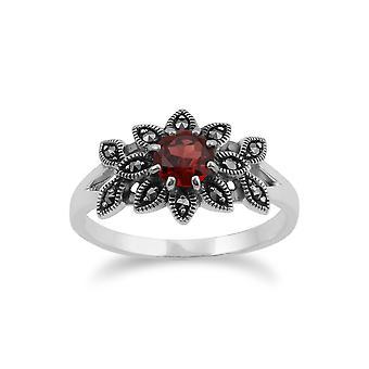 Gemondo 925 Sterling sølv blomster Art Deco Garnet & Marcasite Ring