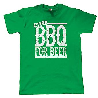 Vectorbomb, Will BBQ For Beer, Mens Funny Grilling T Shirt (S to 5XL)