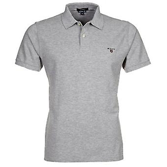 Gant Solid Pique Polo Shirt, Grey Melange