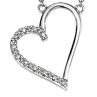 9Ct White Gold With Diamond Heart Necklace