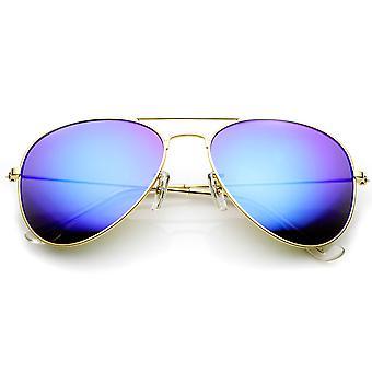 Premium Flash Mirror Lens Aviator Sunglasses (Nickel Plated Metal Frame)