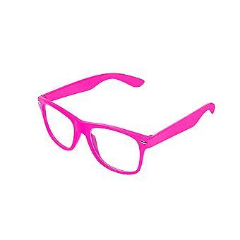 Retro Vintage färg Unisex Punk Geek Wayfare stil noll antal klarglas glasögon glasögon - Babyrosa