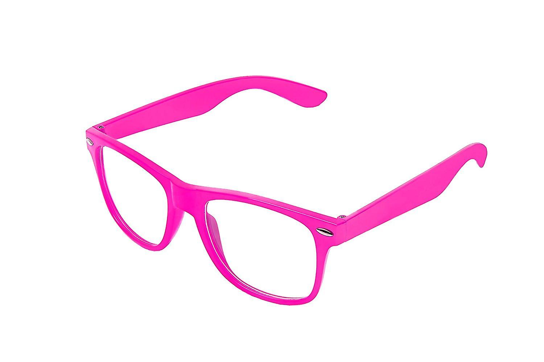 Retro Vintage Colour Unisex Punk Geek Wayfare Style Zero Number Clear Lens Glasses Eyewear - Baby Pink