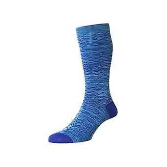 Wadden unique men's cotton lisle dress socks in blue | By Pantherella