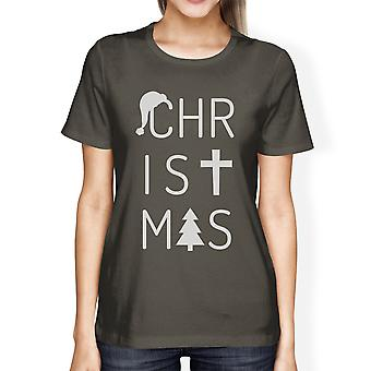 Kerst brieven Womens Dark Grey grafische T-Shirt korte mouw Tee