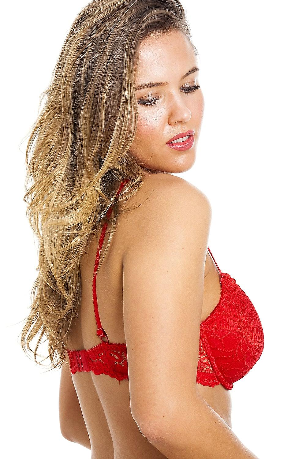 9e754e2b33c70 Camille Camille Womens Ladies Red Push Up Plunge Padded Underwired Bra Size  32A-40E