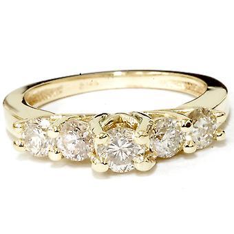 1ct pierścionek 14K żółte złoto