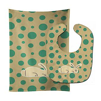 Carolines Treasures  BB7083STBU Rabbit on Polkadots Baby Bib & Burp Cloth