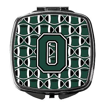 Letter O Football Green and White Compact Mirror