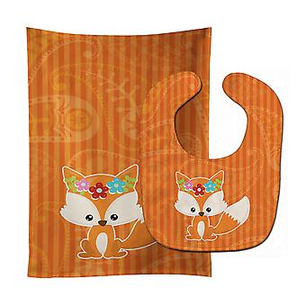 Carolines Treasures  BB6794STBU Fox Baby Bib & Burp Cloth
