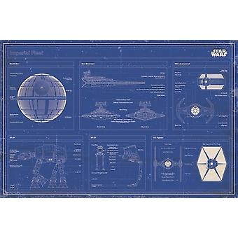 Star Wars - Imperial fleet blueprint Poster Poster Print by