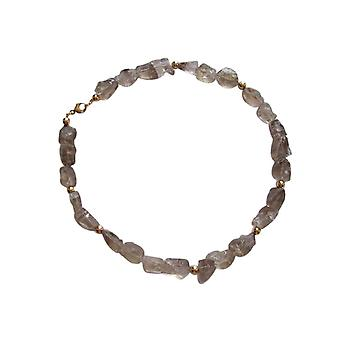 Gemshine - ladies - necklace - Collier - smoky quartz - nature - gold plated - Brown - 45 cm