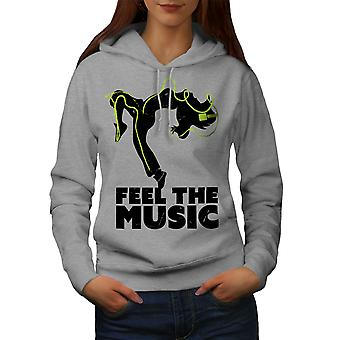 Feel House Dance Music Women GreyHoodie | Wellcoda