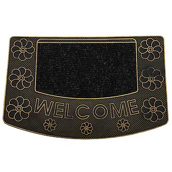 Welcome Circular Flower Design PVC Rubber Door Mat