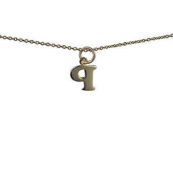 9ct oro 10x10m m llano inicial P colgante con un cable de cadena de 16 pulgadas sólo apta para los niños