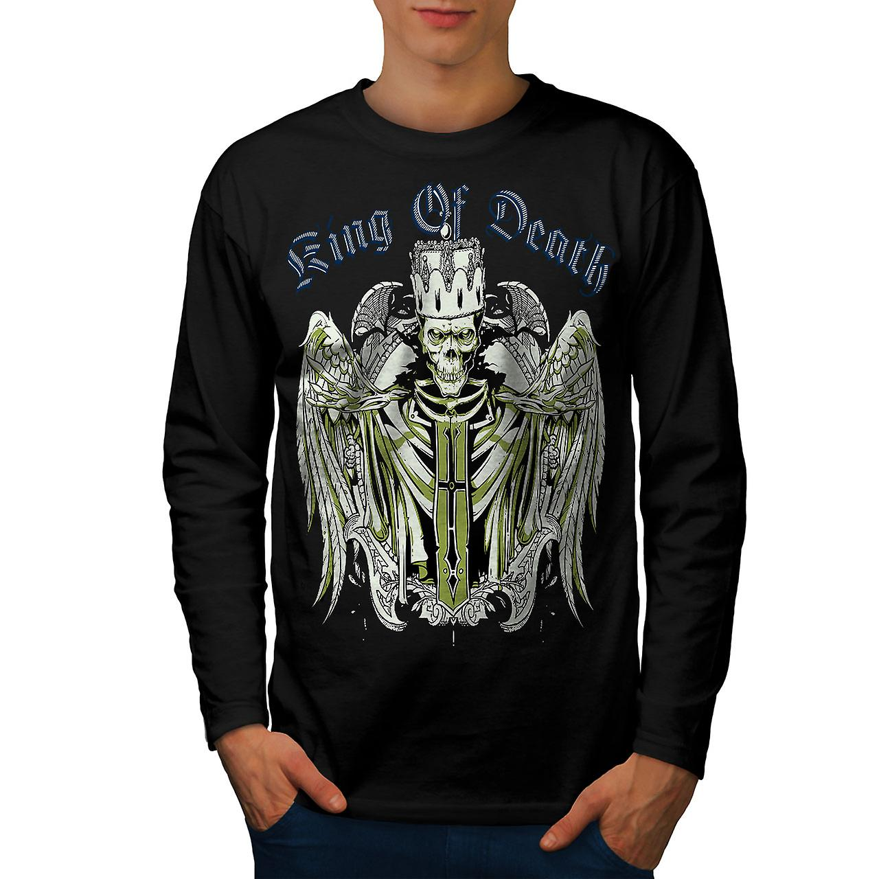 King Of Death Devil Skull Men Black Long Sleeve T-shirt | Wellcoda