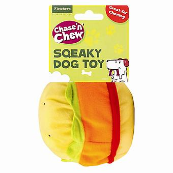 Chase n Chew Soft Plush Squeaky Fast Food Dog/ Puppy Toy Gift-Hamburger