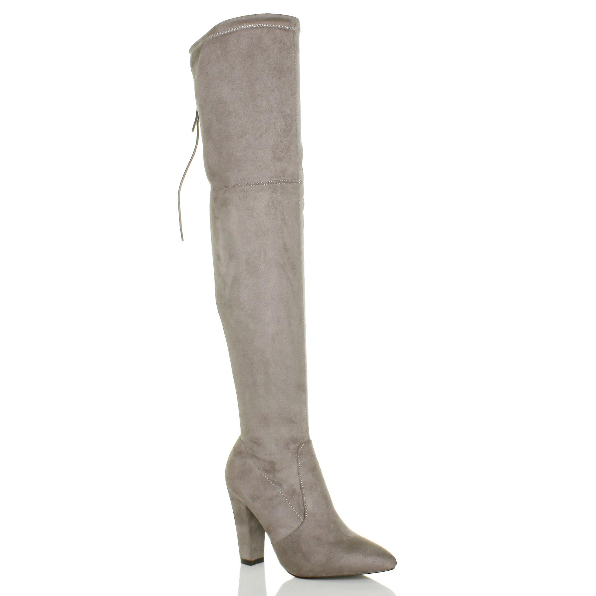 the back over pointed Ajvani lace zip heel block knee boots up womens high xC0zq