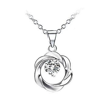 Silver And White Crystal Jewellery Circle Wreath Pendant Necklace