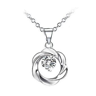كريستال فضي وأبيض دائرة المجوهرات إكليل قلادة قلادة