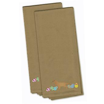English Cocker Spaniel Easter Tan Embroidered Kitchen Towel Set of 2