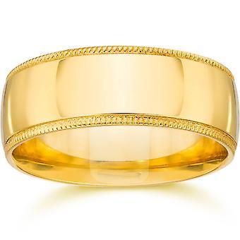 Milgrain Comfort Fit Wedding Band 14K Yellow Gold