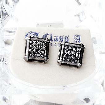 Black Bling Iced Out Ohrstecker - PAVE SQUARE