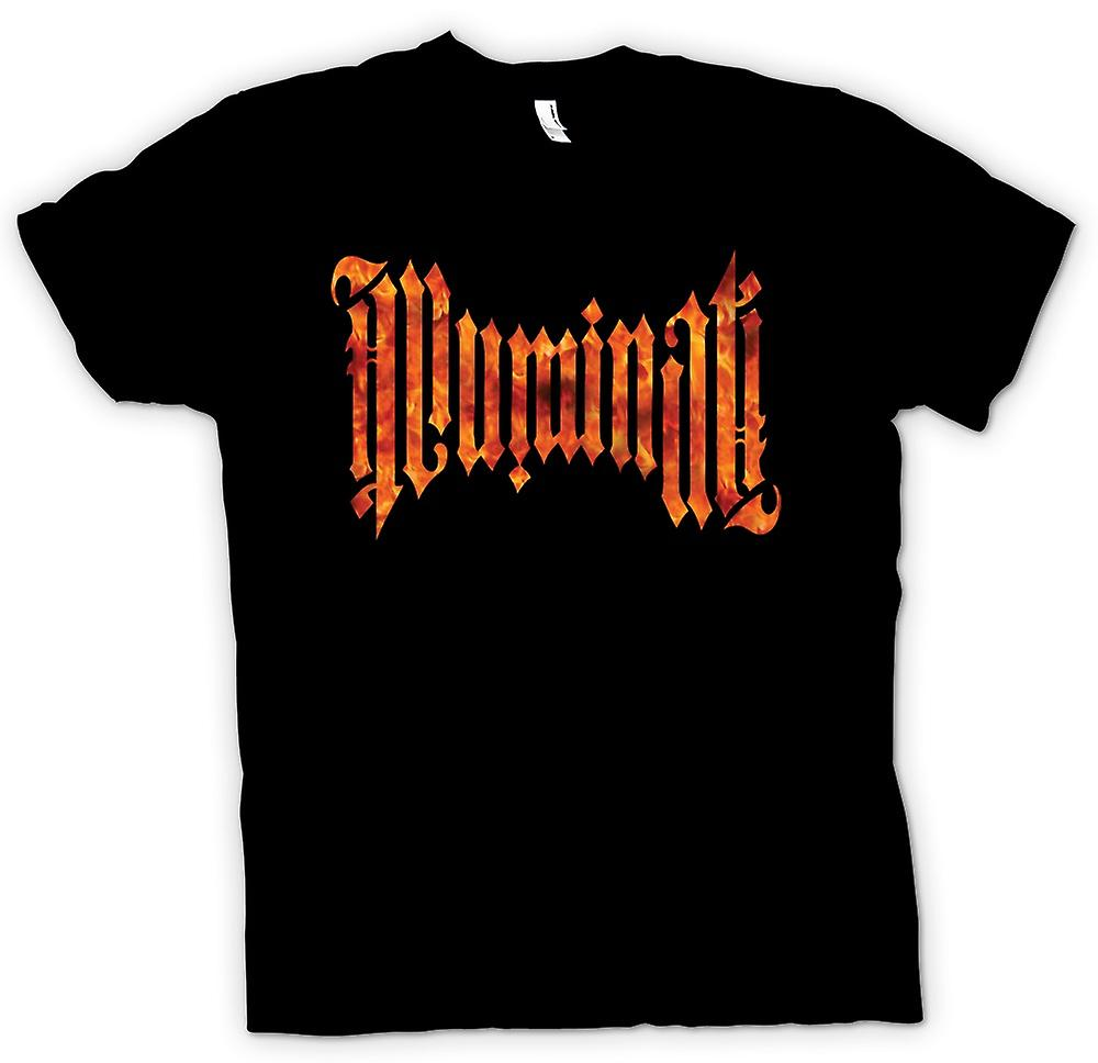 Mens T-shirt - Illuminati Script - Flames - Conspiracy