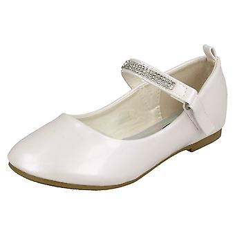 Girls Spot On Diamante Bar Strap Ballerinas H2485 - White Synthetic Patent - UK Size 12 - EU Size 30 - US Size 13