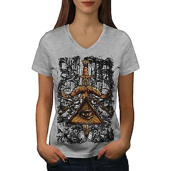 Triangle Society Women GreyV-Neck T-shirt | Wellcoda