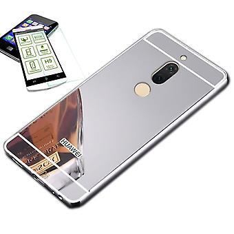 Aluminium bumper 2 piece silver + 0.3 H9 glass for Huawei honor view 10 / V10 Pocket