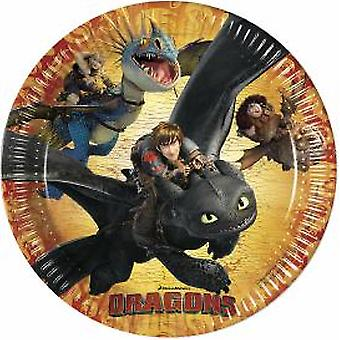 Dragons party plate Dragon party Viking party Ø 23 cm birthday 8 pieces