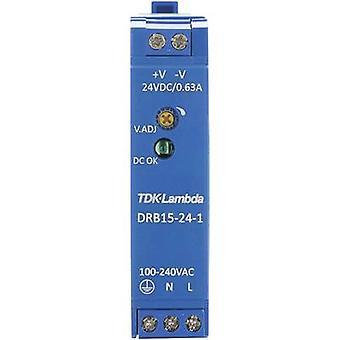Rail mounted PSU (DIN) TDK-Lambda DRB-15-24-1 24 Vdc 0.63 A 15 W 1 x