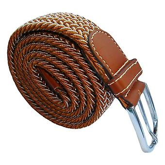 Bassin and Brown Chevron Lined Woven Buckle Belt - Light Brown/White