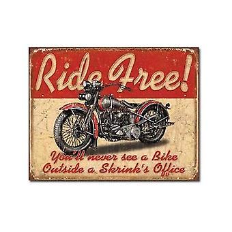 Blechschild kostenlos Motorrad fahren