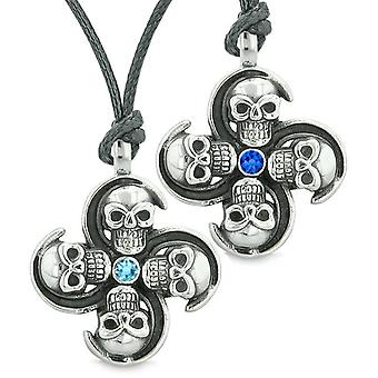 Supernatural Skull Amulet Powers Love Couples Best Friends Sky Royal Blue Crystals Necklaces