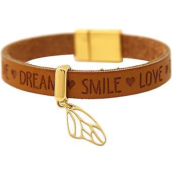 Gemshine - Damen - Armband - Schmetterling - Flügel - 925 Silber Vergoldet - Vergoldet - WISHES - Braun - Magnetverschluss