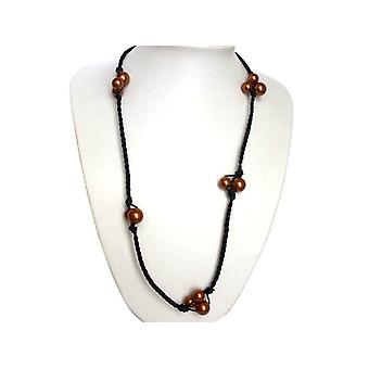 Bead chain champagne caramel color leather and 925 Silver Pearl Necklace