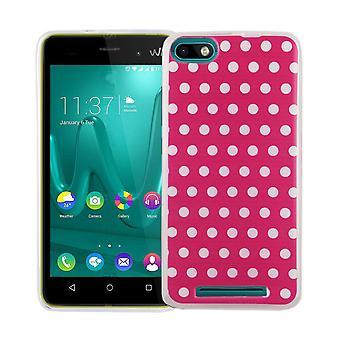 WIKO レニー 3 カバー ケース保護バッグ モチーフ携帯ケース TPU をスリム + 鎧の保護ガラス 9 H 水玉ピンク