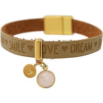 Damen - Armband - Fußabdruck - 925 Silber - Vergoldet - WISHES - Braun - Sand - Rosenquarz - Magnetverschluss