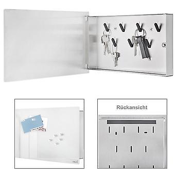 Blomus Schlüsselkasten VELIO, Edelstahl matt, Glas weiß, 6 Magnete