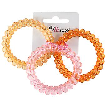 Molly & Rose große Kunststoff-Spirale Haar Bobble Orange, rosa & gelb 3er-Pack