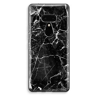 HTC U12+ Transparent Case (Soft) - Black Marble 2