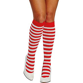 Striped stockings long red accessory white striped Carnival