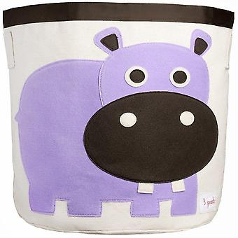 Toy store and laundry container Cylindrical hippo in organic cotton